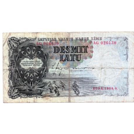 Latvia 10 Latu 1938 VF CRISP Banknote P-29a