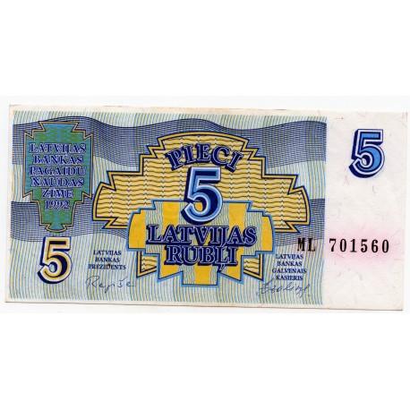 Latvia 5 Rubli 1992 VF CRISP Banknote P-37