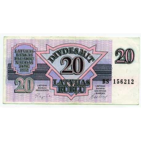 Latvia 20 Rublu 1992 VF CRISP Banknote P-39