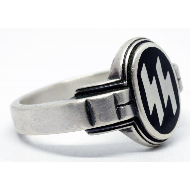 Ww2 German Ss Officer S Silver Ring In Black Enamel For Sale