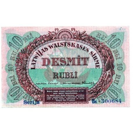 Latvia 10 Rubli from 1919  P 4b