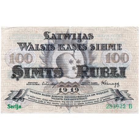 Latvia 100 Rubli from 1919  P 7a