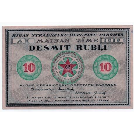 Latvia 10 Rubli from 1919  P- R4