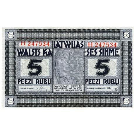 Latvia 5 Rubli from 1919  P-3f