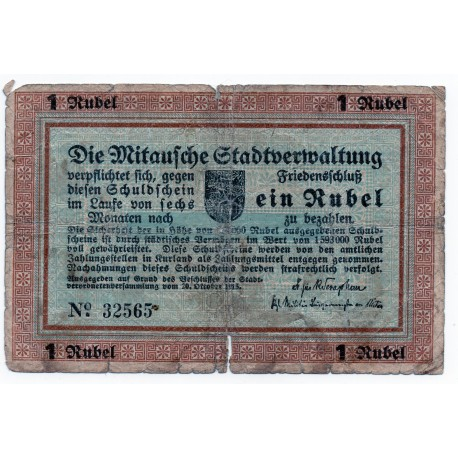 Latvia 1 Ruble 1915  Banknote -Mitau Jelgava