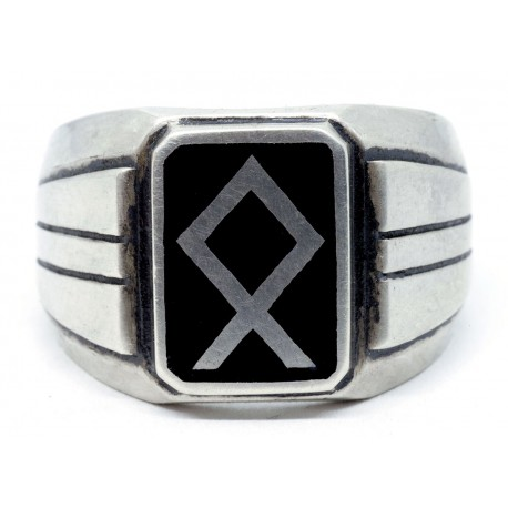 Silver Ring with Odal rune - Power and Glory.
