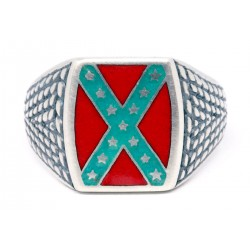 Confederate Rebel  Flag  Sterling silver Ring