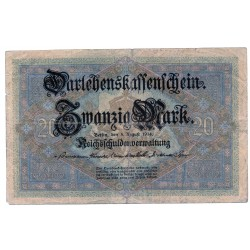 GERMANY  20 MARK from 1914 P-48b