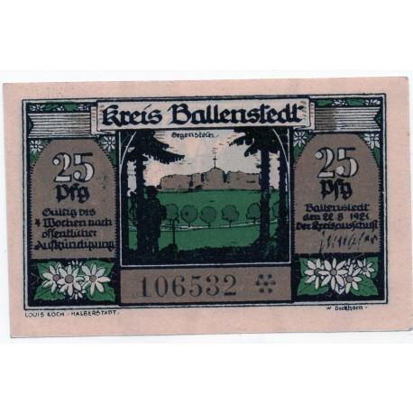 GERMANY  Ballenstedt am Harz 25 Pfennig