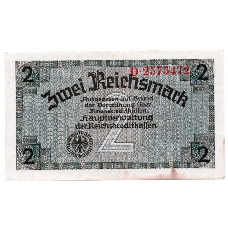 GERMANY  2 REICHSMARK  from 1940 P-R137a