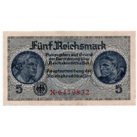 GERMANY  5 REICHSMARK  from 1940 P-R138a