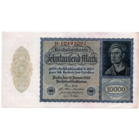 GERMANY  10000 MARK  from 1922 P-72