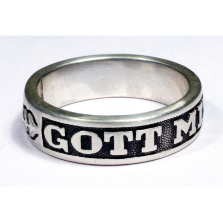 "WW II German silver ring with logo ""Gott Mit Uns"""
