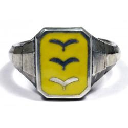 WW II Немецкий перстень лётчика Люфтваффе в серебре с эмалью