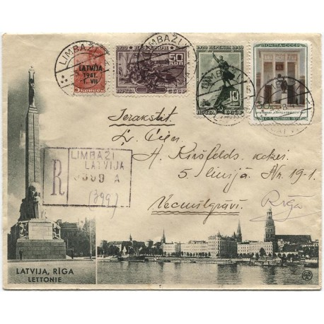 Latvia,1941, Registered cover from Limbaži to Riga