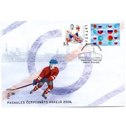 Latvian First Day Cover - World Cup of Ice Hockey 2006
