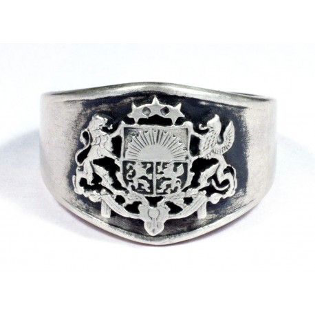 Silver WWII German  Latvian Volunteer Ring
