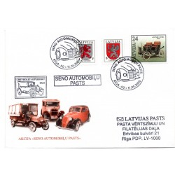 Latvian First Day Cover -  Retro car mail