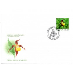 Latvian First Day Cover - Cypripedium calceolus