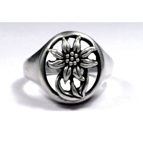WWII GERMAN ALPEN DIVISION Edelweiss silver ring