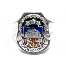 Latvian enameled silver ring