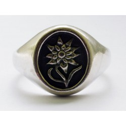 German ALPEN DIVISION Edelweiss silver ring