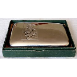 Antique ALPAKA Cigarette Case Decorated with Horse Motif