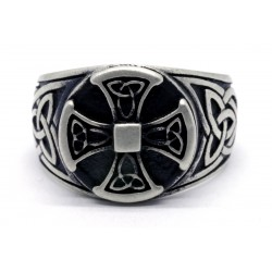 Knights Templar Celtic Knot Iron Cross Ring