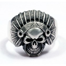 BIKER ANCIENT INDIAN FACE MENS RING