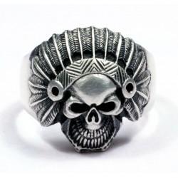Кольцо байкера с лицом древнего индейского человека