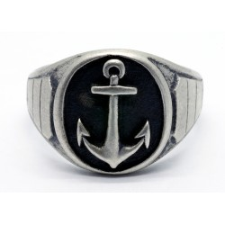 Sterling silver Navy Anchor Ring