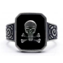 WW2 German waffen totenkopf silver skull ring