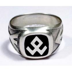 Emaillierten Silberring mit Runen