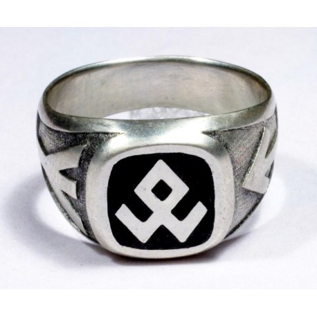 Sterling silver ring with enameled runes