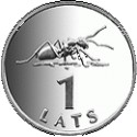 The 1-lats coin featuring an ant
