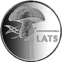 The 1-lats coin featuring a mushroom