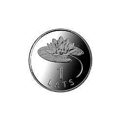1-lats coin featuring a waterlily was struck in 2008